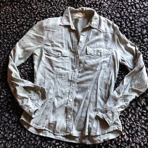 Cloth & Stone button up long sleeves top sage S